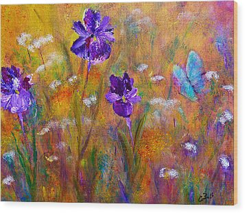 Iris Wildflowers And Butterfly Wood Print