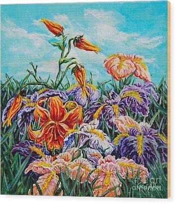 Iris With Daylily Wood Print
