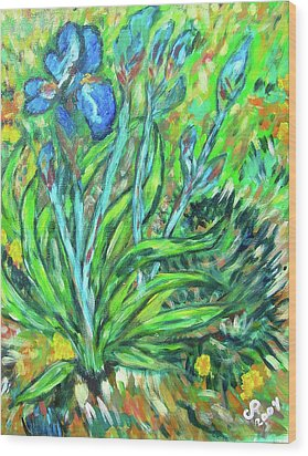 Irises Ala Van Gogh Wood Print by Carolyn Donnell