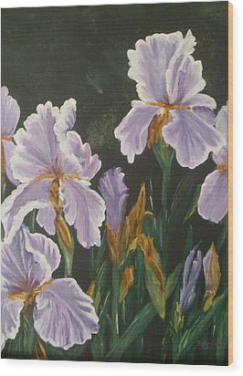 Wood Print featuring the painting Irises by Betty-Anne McDonald