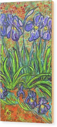 Irises In A Sunny Garden Wood Print by Carolyn Donnell