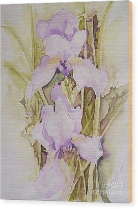 Irises Wood Print by Jackie Mueller-Jones