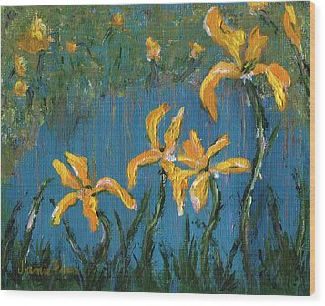 Wood Print featuring the painting Irises by Jamie Frier