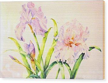 Irises Wood Print by Nancy Newman