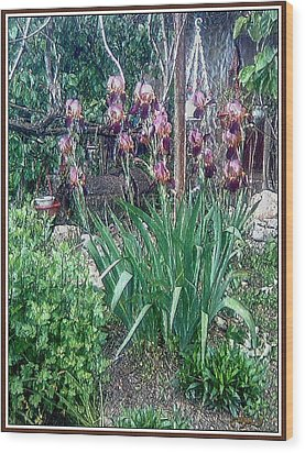 Wood Print featuring the digital art Irises by Pemaro