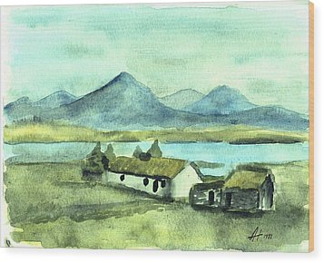 Irish Cottage Wood Print by Alan Hogan