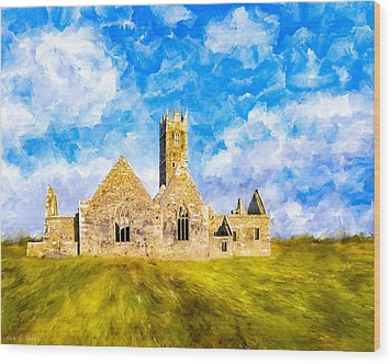 Irish Monastic Ruins Of Ross Errilly Friary Wood Print by Mark E Tisdale