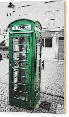Irish Phone Booth In  Kinsale Wood Print by George Oze