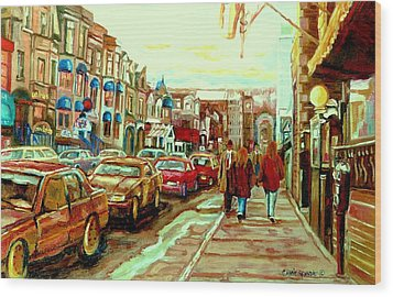 Irish Pubs And Bistros Downtown Montreal Wood Print by Carole Spandau