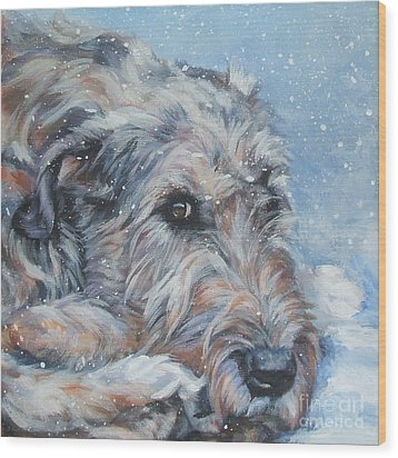 Irish Wolfhound Resting Wood Print