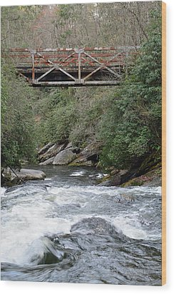 Iron Bridge Over Chattooga River Wood Print by Bruce Gourley