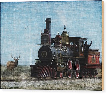 Iron Horse Invades The Plains Wood Print by Lianne Schneider