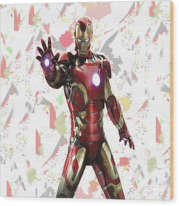 Wood Print featuring the mixed media Iron Man Splash Super Hero Series by Movie Poster Prints