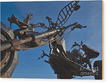 Iron Motorcycle Sculpture In Faro Wood Print by Angelo DeVal
