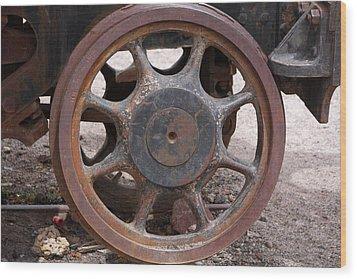 Iron Train Wheel Wood Print by Aidan Moran