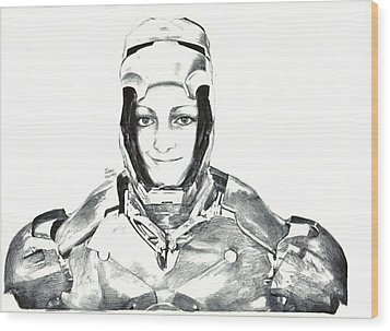 Iron Woman Wood Print by Benjamin McDaniel
