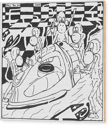Ironing Monkeys Maze Cartoon Wood Print by Yonatan Frimer Maze Artist