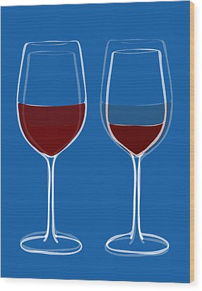 Is The Glass Half Empty Or Half Full Wood Print by Frank Tschakert