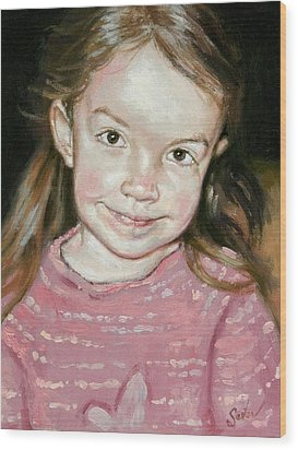 Isabeau Smiles Wood Print by Larry Seiler