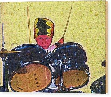 Isaiah The Drummer Wood Print by Deborah MacQuarrie-Selib