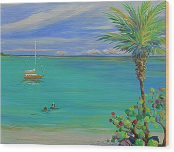 Islamorada Snorkeling Wood Print by Anne Marie Brown