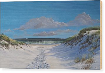 Island Beach Dune Walk Wood Print by Ken Ahlering
