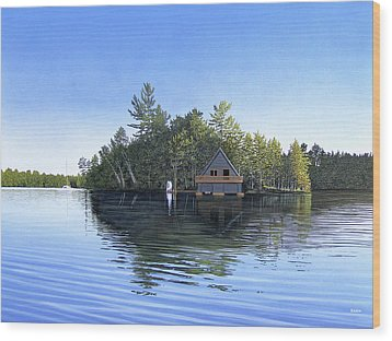 Wood Print featuring the painting Island Boathouse Muskoka  by Kenneth M Kirsch