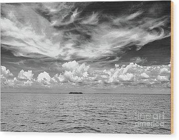 Island, Clouds, Sky, Water Wood Print