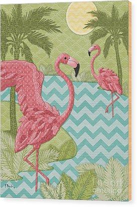 Island Flamingo - Vertical Wood Print