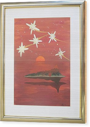 Wood Print featuring the painting Island In The Sky With Diamonds by Ron Davidson