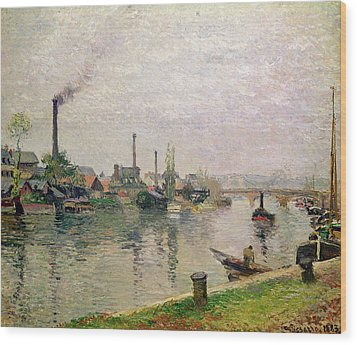 Island Of The Cross At Rouen Wood Print by Camille Pissarro