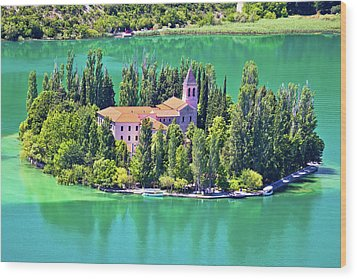Island Of Visovac Monastery In Krka  Wood Print by Brch Photography