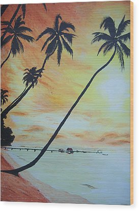 Island Sunset Wood Print by Ken Day