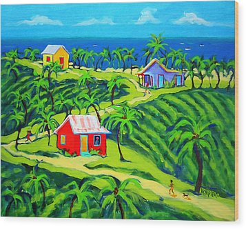 Island Time - Colorful Houses Caribbean Cottages Wood Print