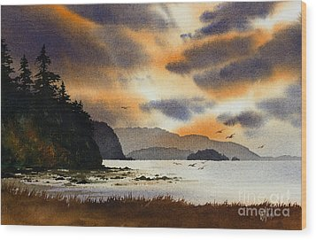 Wood Print featuring the painting Islands Autumn Sky by James Williamson