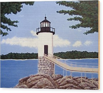 Wood Print featuring the painting Isle Au Haut Lighthouse by Frederic Kohli
