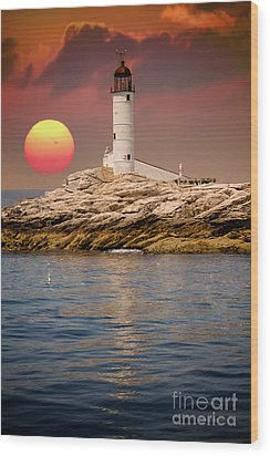 Isles Of Shoals Lighthouse At Sunset Wood Print