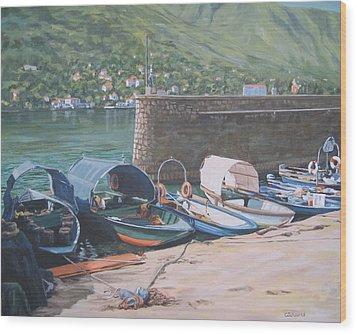 Isola Pescatori Fishing Boats Wood Print