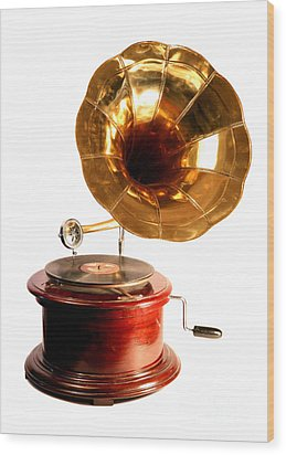 Isolated Antique Gramophone Wood Print by Paul Cowan