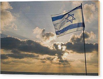 Israeli Flag And Sunset Wood Print by Daniel Blatt