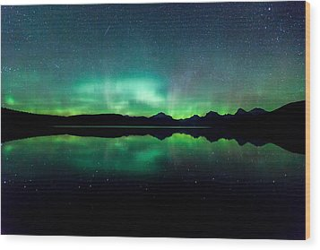 Wood Print featuring the photograph Iss Aurora by Aaron Aldrich
