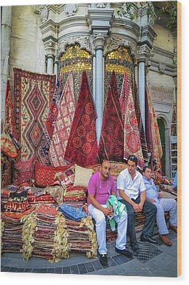 Istanbul Rug Merchants Wood Print by Ross Henton