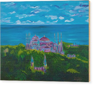 Istanbul Skyline Wood Print by Dani Altieri Marinucci