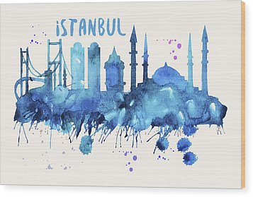 Istanbul Skyline Watercolor Poster - Cityscape Painting Artwork Wood Print