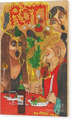 It Happened In A Restaurant Wood Print by Don Pedro De Gracia