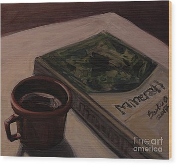 Wood Print featuring the painting It Is Coffee Time by Olimpia - Hinamatsuri Barbu