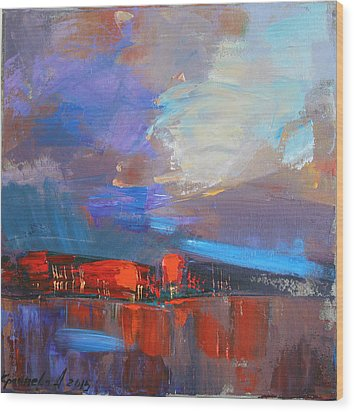 Wood Print featuring the painting It Will Soon Burst by Anastasija Kraineva