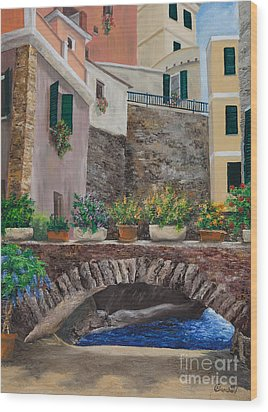 Italian Arched Bridge With Flower Pots Wood Print by Charlotte Blanchard