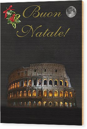 Italian Christmas Card Rome Wood Print