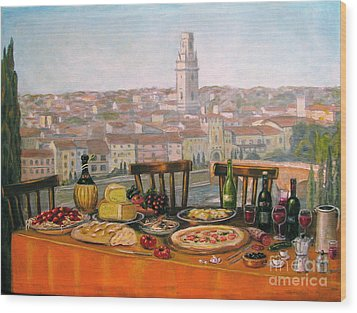Italian Cityscape-verona Feast Wood Print by Italian Art